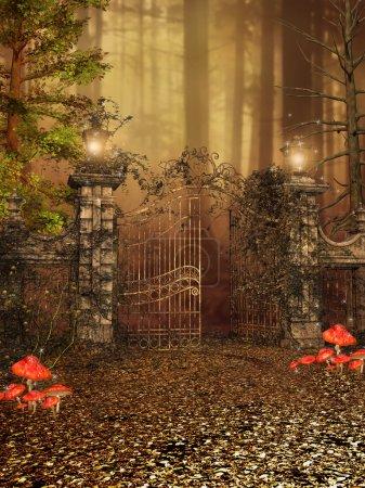 Photo pour Porte avec des lampes et le lierre à une forêt d'automne, illustration - image libre de droit