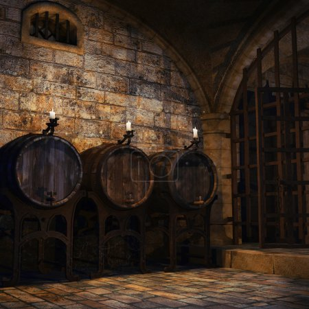 Barrels and candles in a cellar