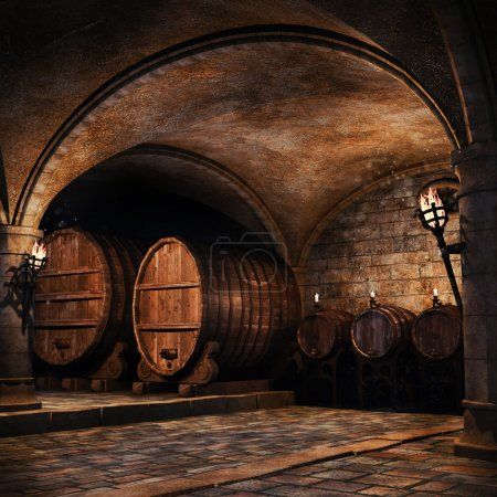 Wooden barrels in a cellar