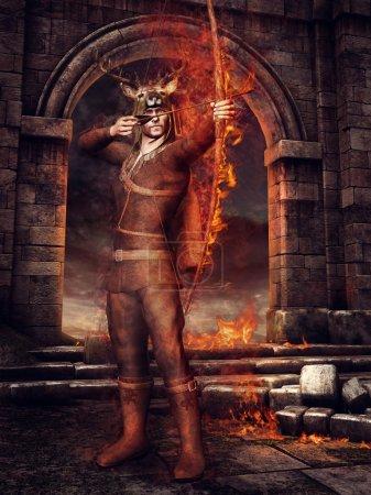 Hunter with fiery arrows