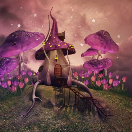 Fantasy mushrooms on a hill