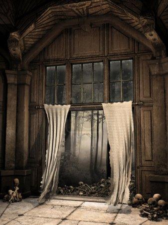 Photo pour Couloir ruiné effrayant avec les rideaux en lambeaux, les crânes et les os - image libre de droit