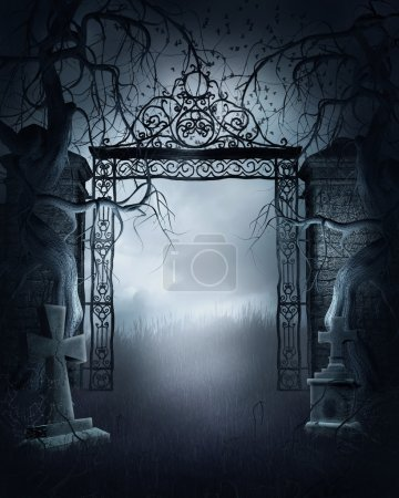 Foggy cemetery gate