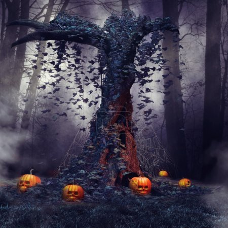 Tree with pumpkins and cobwebs