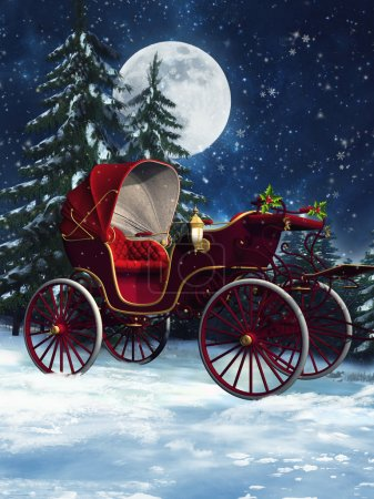 Photo for Colorful Christmas carriage in a winter forest at night - Royalty Free Image