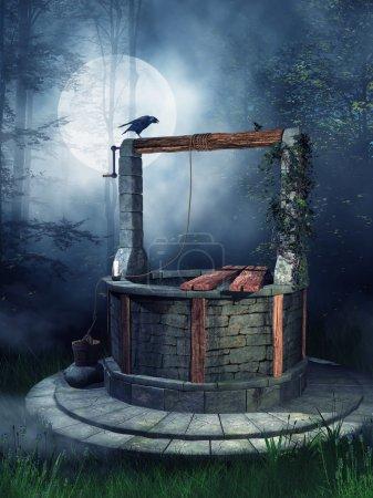 Photo pour Vieux puits avec un corbeau dans la forêt la nuit - image libre de droit