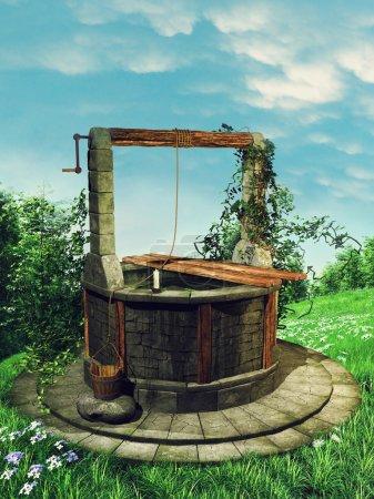 Photo pour Prairie printanière fleurie avec un vieux puits à souhaits et lierre - image libre de droit