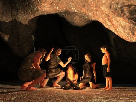 Photo pour Los habitantes de la cueva se reunieron alrededor de una fogata - image libre de droit