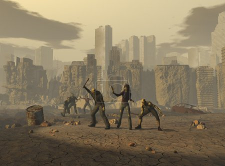 Mutants in a post apocalyptic landscape
