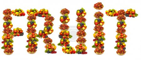 Photo for Isolated image of fruits in the form of the word fruit - Royalty Free Image