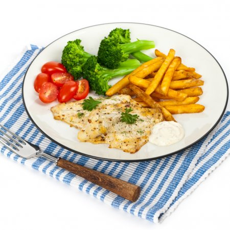 Dinner Plate with Grilled White Fish