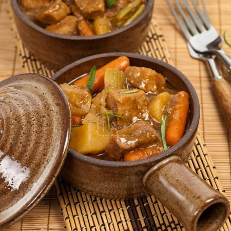 Photo for Slow Cooker Pork Stew. Selective focus. - Royalty Free Image