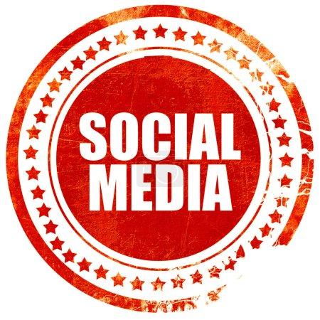 social media grunge roten stempel mit