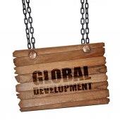 global development, 3D rendering, wooden board on a grunge chain