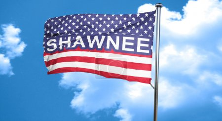shawnee, 3D rendering, city flag with stars and stripes