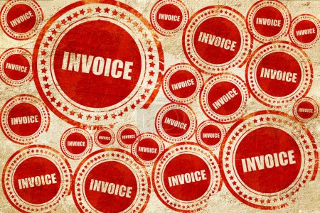 invoice, red stamp on a grunge paper texture