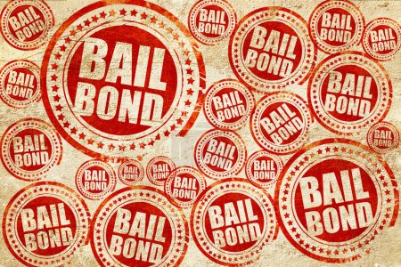 bailbond, red stamp on a grunge paper texture