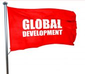 global development, 3D rendering, a red waving flag