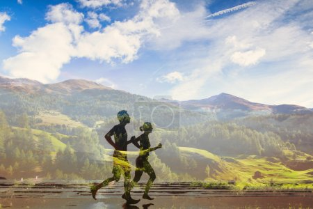 Photo for Double exposure of two runners, eco trail in the nature, sport race competition - Royalty Free Image