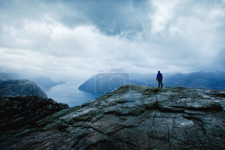 Photo for Traveler on the top of the mountain with panoramic view - Royalty Free Image