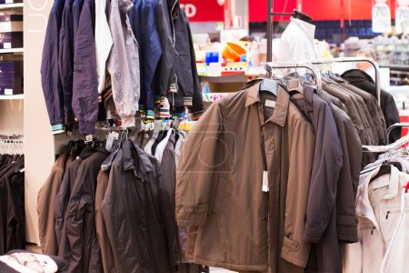 Jackets for sell in supermarket