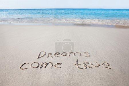Dreams come true words written on sand near sea...