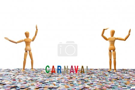 Photo for Dummy couple at Carnaval Party on white background - Royalty Free Image