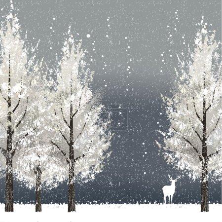 Illustration pour Fond d'hiver la nuit avec des arbres blancs et des rennes. Fichier contient masque de coupe, maillage dégradé . - image libre de droit