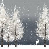 """Постер, картина, фотообои """"Зимний фон ночью с белым деревья и оленей"""""""