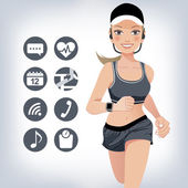 Healthy young jogging woman wears smart device with touchscreen  File contains Gradient Gradient mesh Blend tool Clipping mask Transparency