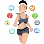 Health sport young woman running with smart watch device