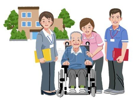 Cheerful elderly person in wheelchair with his nur...