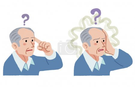 Illustration for Senior man with gesture of having forgotten something, suffering from amnesia. - Royalty Free Image