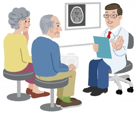 Doctor talking with his patient and the family