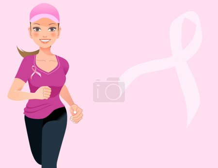 Pink ribbon concept with running woman