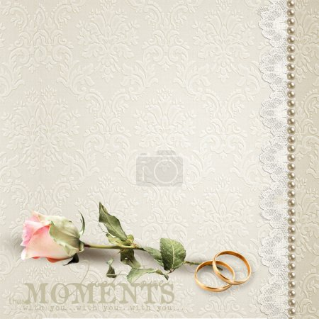 Beautiful wedding background with seat for a photo or the text in beige tones.
