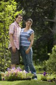 Hispanic couple in garden