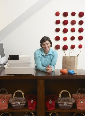 Woman working in boutique