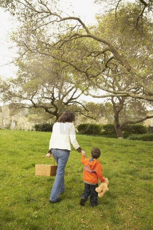 Mother and young son with picnic basket in park