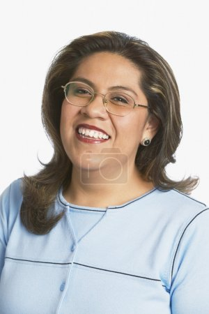 Middle-aged woman laughing