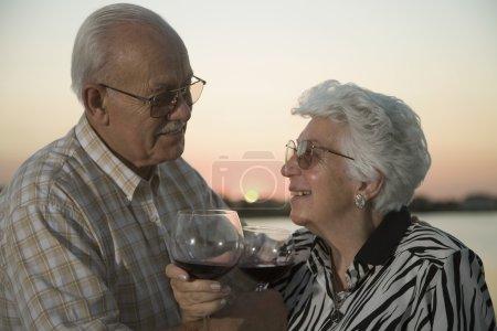 Senior Hispanic couple drinking wine