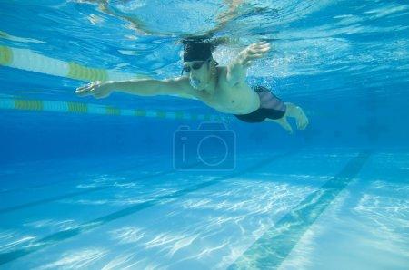 Underwater shot of Asian man swimming