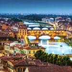Florence, Ponte Vecchio arch bridge at twilight fr...