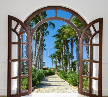 Photo for Old wooden arch in the fortress with open doors - Royalty Free Image