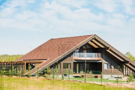 Gable roof private residential new modern house wi...