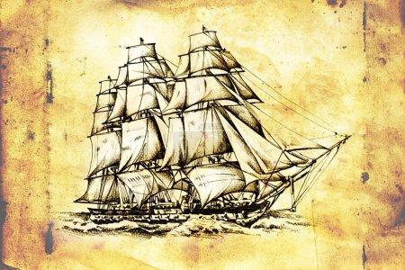 dessin de motif de mer bateau antique à la main