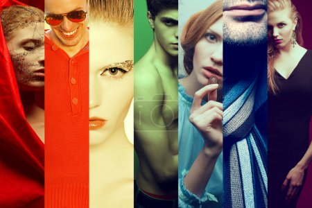 Rainbow hipster people concept. Collage (mosaic) of fashionable