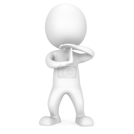 Photo pour Blanc mignon homme montrer le temps geste avec les mains. 3d rende isolé sur blanc. Sport, jeu, entreprise, pause concept . - image libre de droit