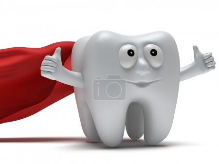 Cute healthy superhero tooth with hands shows thumbs up