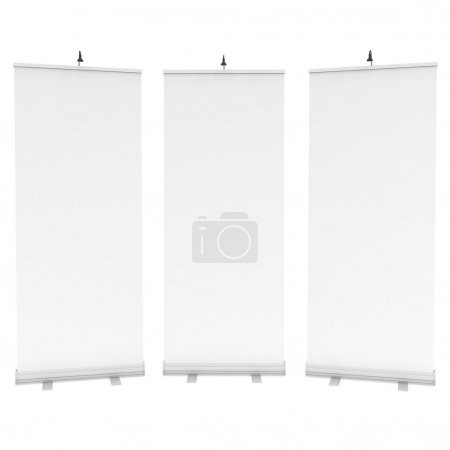 Photo for Blank Roll Up Banner Stands. Trade show booth white and blank. 3d render isolated on white background. High Resolution Template for your design. - Royalty Free Image